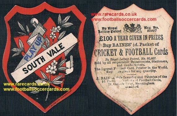 1890's Crystal Palace South Vale football card by Baines